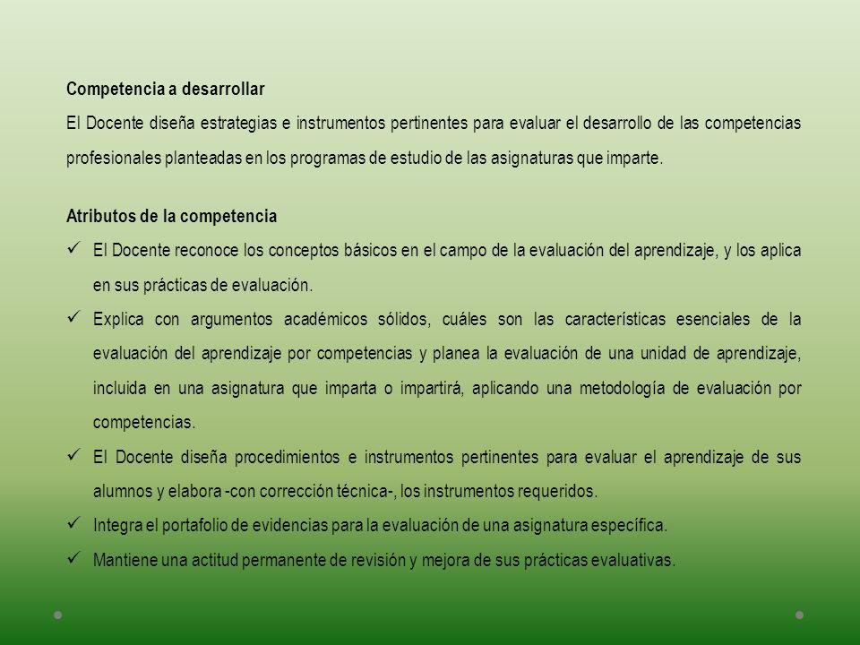 Competencia a desarrollar El Docente diseña estrategias e instrumentos pertinentes para evaluar el desarrollo de las competencias profesionales plante
