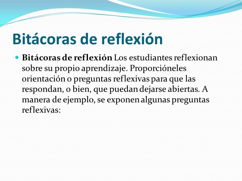 Bitácoras de reflexión Bitácoras de reflexión Los estudiantes reflexionan sobre su propio aprendizaje.