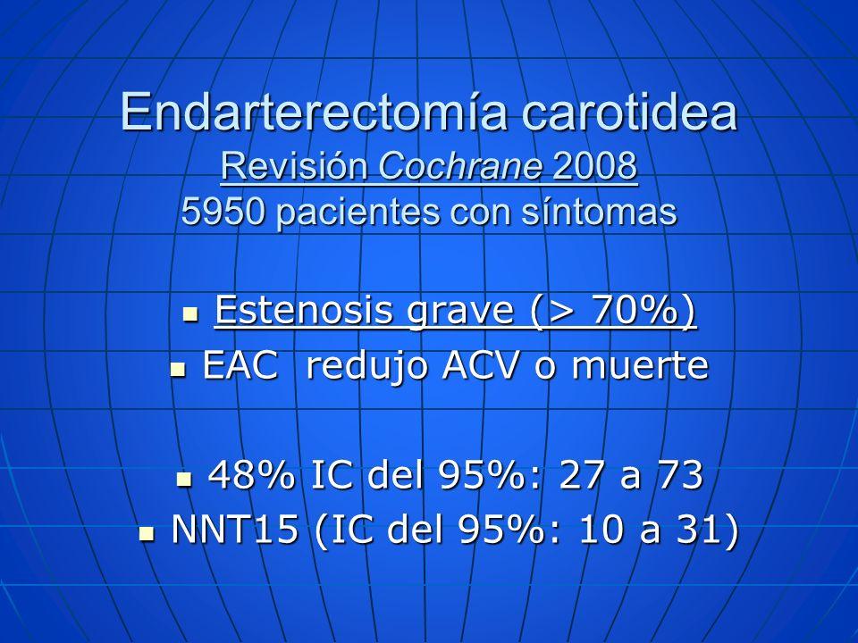 Endarterectomía carotidea Revisión Cochrane 2008 5950 pacientes con síntomas Estenosis grave (> 70%) Estenosis grave (> 70%) EAC redujo ACV o muerte E