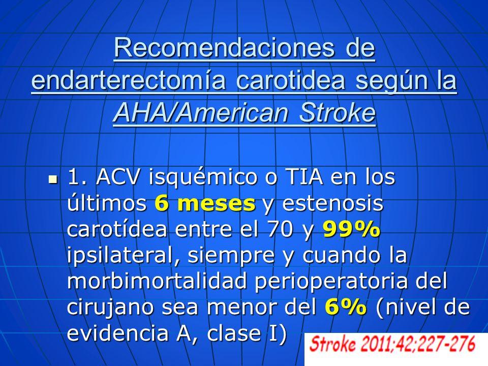 Recomendaciones de endarterectomía carotidea según la AHA/American Stroke 1. ACV isquémico o TIA en los últimos 6 meses y estenosis carotídea entre el