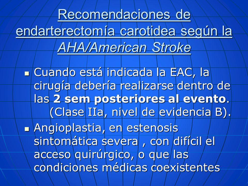 Cuando está indicada la EAC, la cirugía debería realizarse dentro de las 2 sem posteriores al evento. (Clase IIa, nivel de evidencia B). Cuando está i