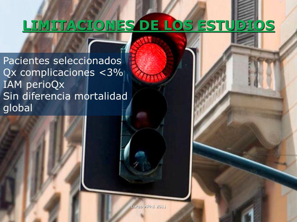 LIMITACIONES DE LOS ESTUDIOS Curso APMI 2011 Pacientes seleccionados Qx complicaciones <3% IAM perioQx Sin diferencia mortalidad global