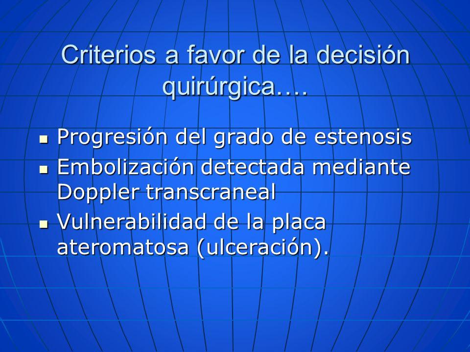 Criterios a favor de la decisión quirúrgica…. Progresión del grado de estenosis Progresión del grado de estenosis Embolización detectada mediante Dopp