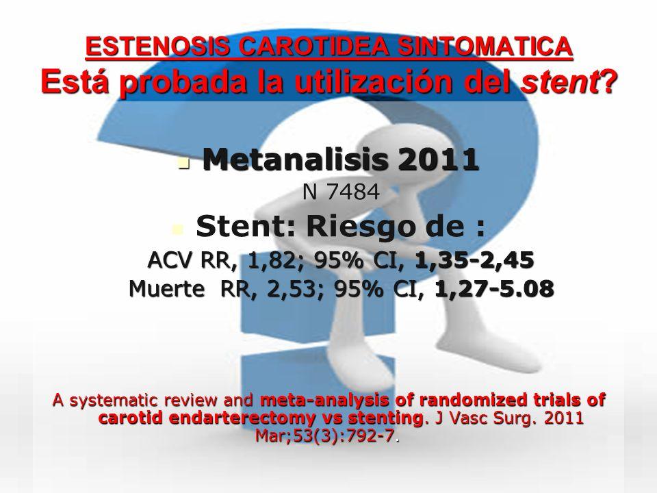 ESTENOSIS CAROTIDEA SINTOMATICA Está probada la utilización del stent? Metanalisis 2011 Metanalisis 2011 N 7484 Stent: Riesgo de : ACV RR, 1,82; 95% C