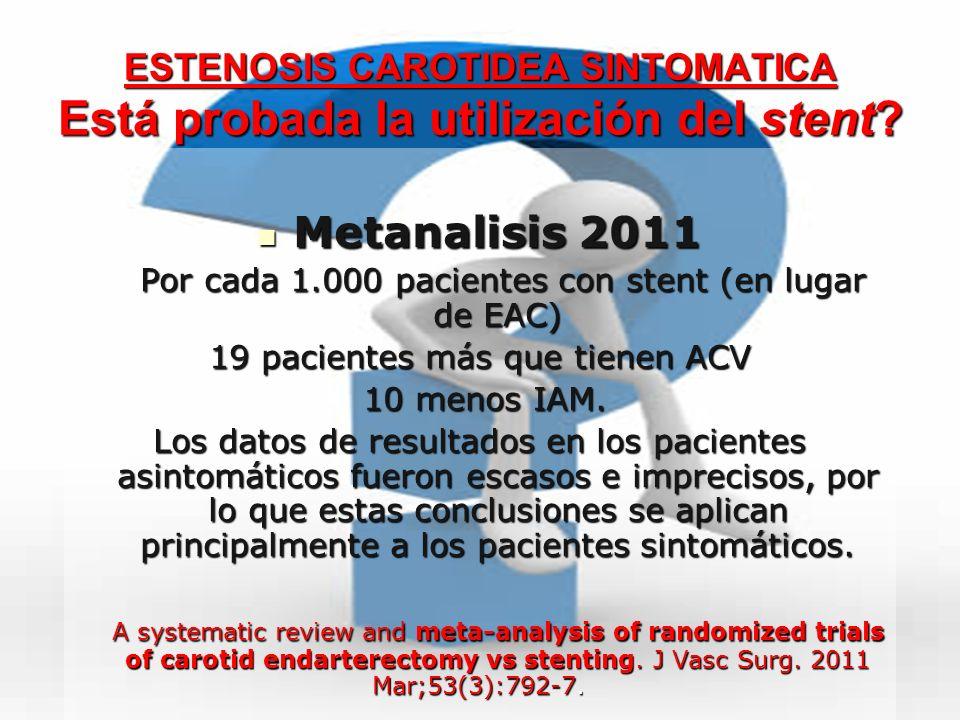 ESTENOSIS CAROTIDEA SINTOMATICA Está probada la utilización del stent? Metanalisis 2011 Metanalisis 2011 Por cada 1.000 pacientes con stent (en lugar