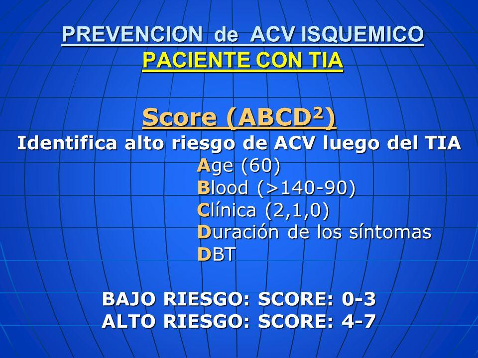 Score (ABCD 2 ) Identifica alto riesgo de ACV luego del TIA Age (60) Age (60) Blood (>140-90) Blood (>140-90) Clínica (2,1,0) Clínica (2,1,0) Duración