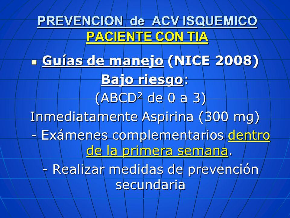 Guías de manejo (NICE 2008) Guías de manejo (NICE 2008) Bajo riesgo: (ABCD 2 de 0 a 3) Inmediatamente Aspirina (300 mg) - Exámenes complementarios den