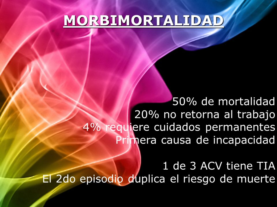 MORBIMORTALIDAD 50% de mortalidad 20% no retorna al trabajo 4% requiere cuidados permanentes Primera causa de incapacidad 1 de 3 ACV tiene TIA El 2do