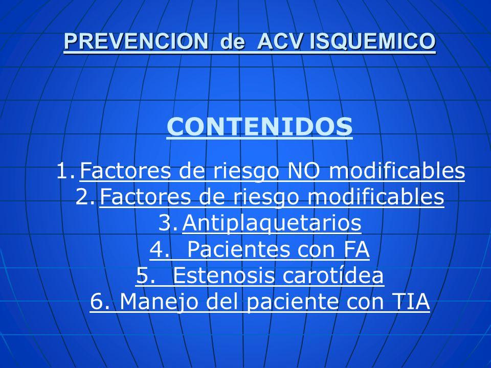 PREVENCION de ACV ISQUEMICO CONTENIDOS 1.Factores de riesgo NO modificables 2.Factores de riesgo modificables 3.Antiplaquetarios 4. Pacientes con FA 5