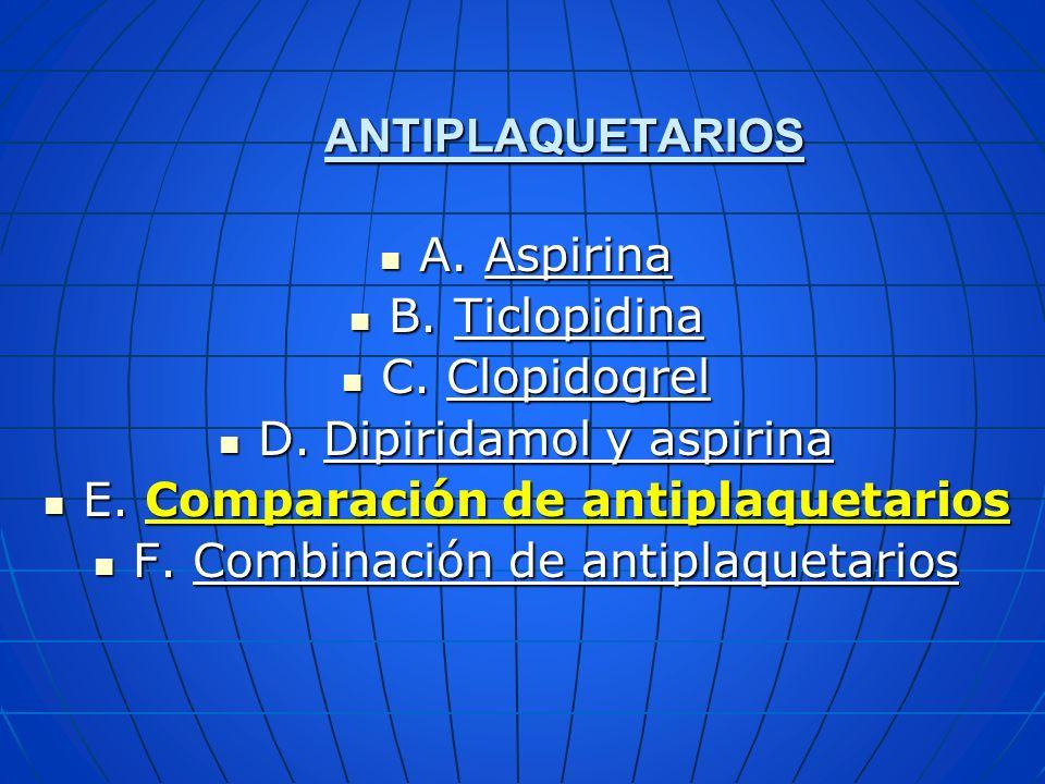 ANTIPLAQUETARIOS A.Aspirina A.Aspirina B. Ticlopidina B. Ticlopidina C. Clopidogrel C. Clopidogrel D.Dipiridamol y aspirina D.Dipiridamol y aspirina E