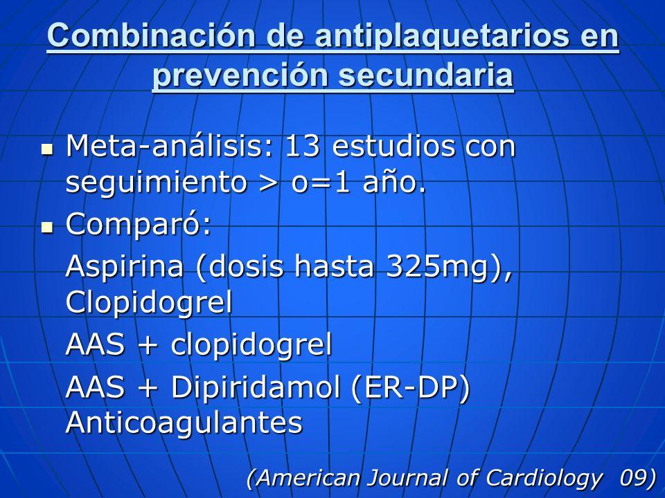 Combinación de antiplaquetarios en prevención secundaria Meta-análisis: 13 estudios con seguimiento > o=1 año. Meta-análisis: 13 estudios con seguimie