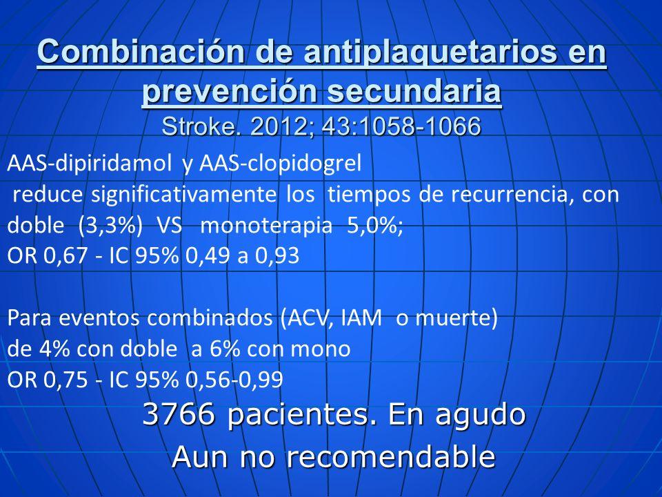3766 pacientes. En agudo Aun no recomendable Combinación de antiplaquetarios en prevención secundaria Stroke. 2012; 43:1058-1066 AAS-dipiridamol y AAS