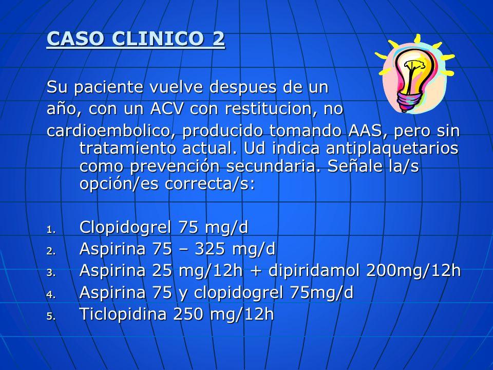 CASO CLINICO 2 Su paciente vuelve despues de un año, con un ACV con restitucion, no cardioembolico, producido tomando AAS, pero sin tratamiento actual