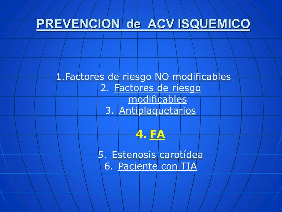 PREVENCION de ACV ISQUEMICO 1.Factores de riesgo NO modificables 2.Factores de riesgo modificables 3.Antiplaquetarios 4.FA 5.Estenosis carotídea 6.Pac