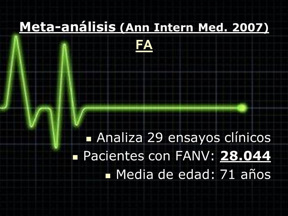 Meta-análisis (Ann Intern Med. 2007) Analiza 29 ensayos clínicos Analiza 29 ensayos clínicos Pacientes con FANV: 28.044 Pacientes con FANV: 28.044 Med