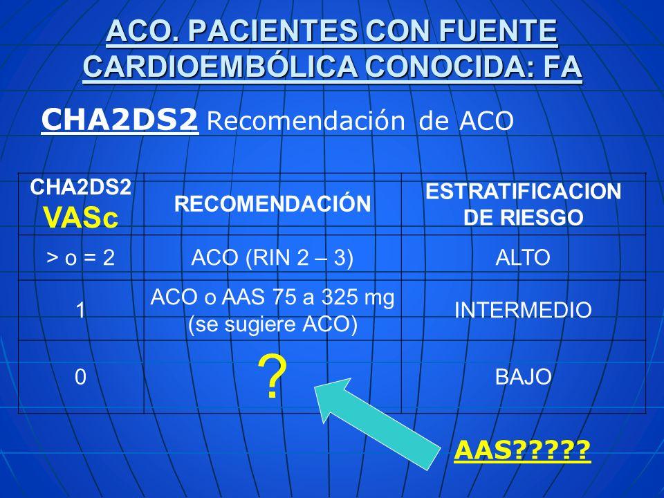 ACO. PACIENTES CON FUENTE CARDIOEMBÓLICA CONOCIDA: FA CHA2DS2 Recomendación de ACO CHA2DS2 VASc RECOMENDACIÓN ESTRATIFICACION DE RIESGO > o = 2ACO (RI