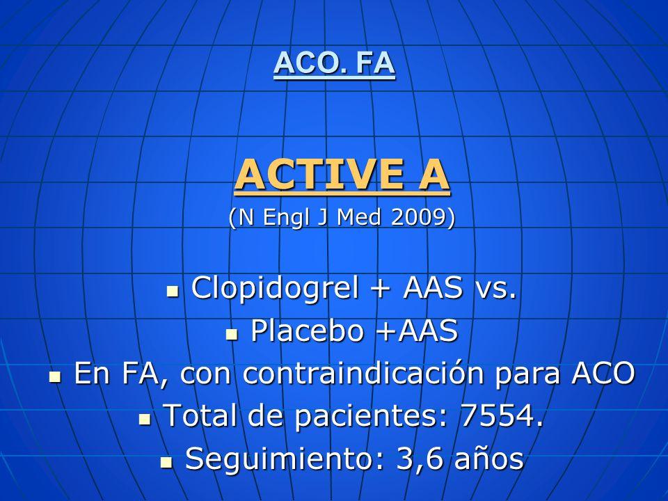 ACO. FA ACTIVE A (N Engl J Med 2009) Clopidogrel + AAS vs. Clopidogrel + AAS vs. Placebo +AAS Placebo +AAS En FA, con contraindicación para ACO En FA,