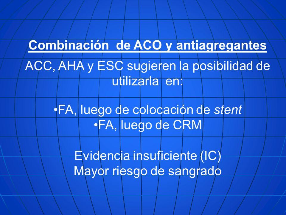 Combinación de ACO y antiagregantes ACC, AHA y ESC sugieren la posibilidad de utilizarla en: FA, luego de colocación de stent FA, luego de CRM Evidenc