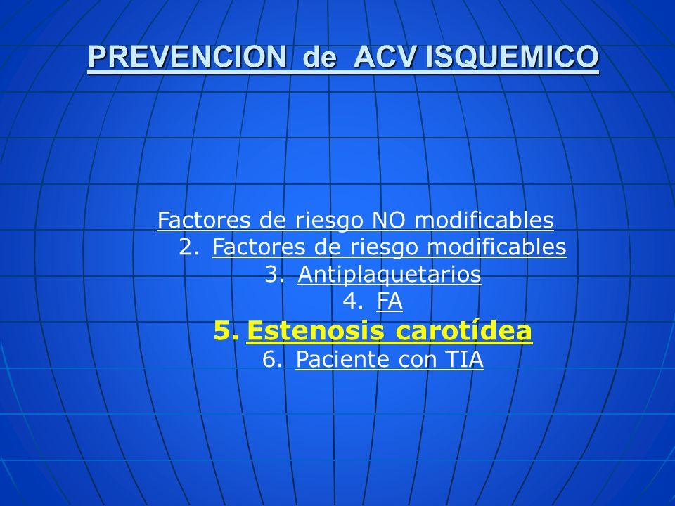 PREVENCION de ACV ISQUEMICO Factores de riesgo NO modificables 2.Factores de riesgo modificables 3.Antiplaquetarios 4.FA 5.Estenosis carotídea 6.Pacie