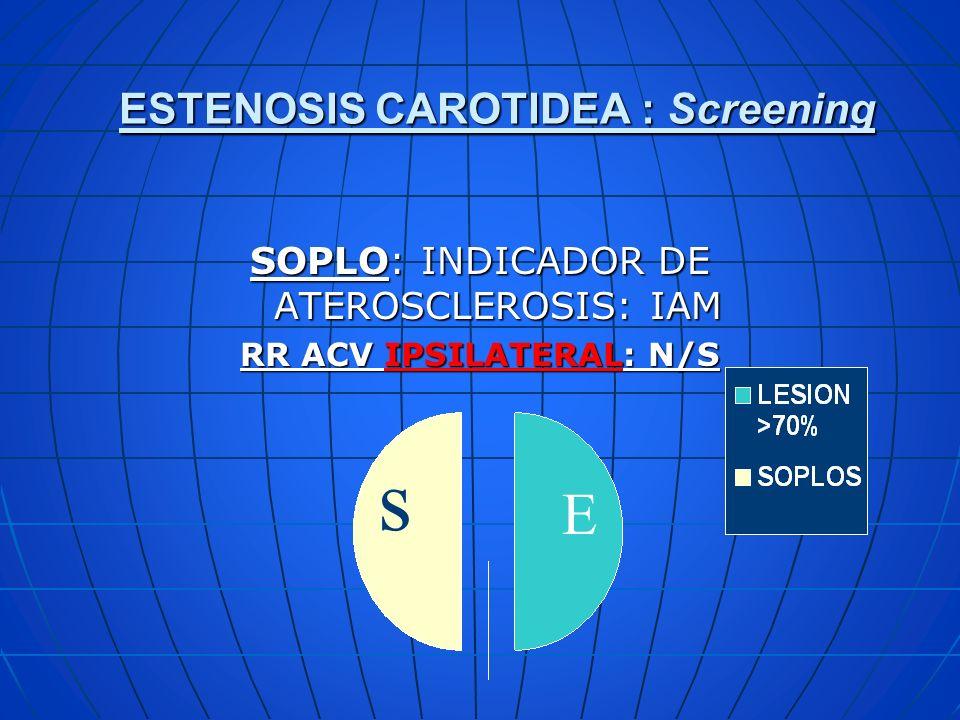 ESTENOSIS CAROTIDEA : Screening SOPLO: INDICADOR DE ATEROSCLEROSIS: IAM RR ACV IPSILATERAL: N/S s E