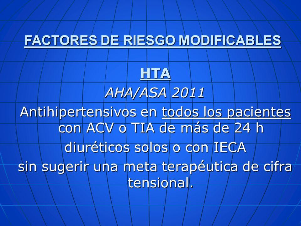 HTA AHA/ASA 2011 Antihipertensivos en todos los pacientes con ACV o TIA de más de 24 h diuréticos solos o con IECA sin sugerir una meta terapéutica de