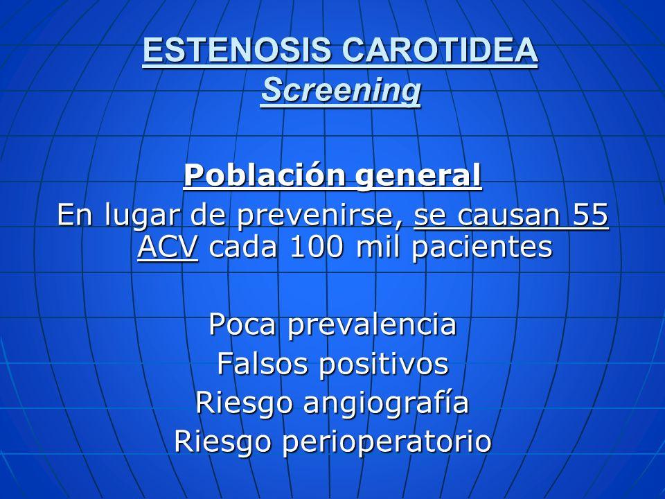 Población general En lugar de prevenirse, se causan 55 ACV cada 100 mil pacientes Poca prevalencia Falsos positivos Riesgo angiografía Riesgo perioper