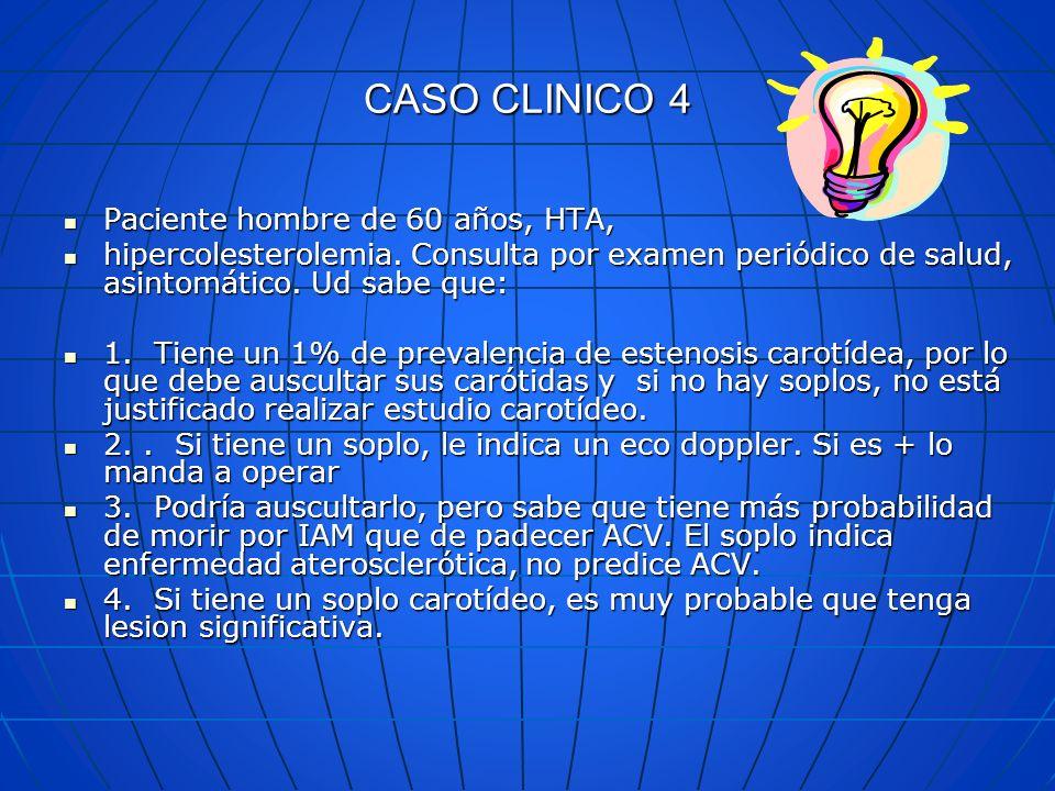 CASO CLINICO 4 Paciente hombre de 60 años, HTA, Paciente hombre de 60 años, HTA, hipercolesterolemia. Consulta por examen periódico de salud, asintomá