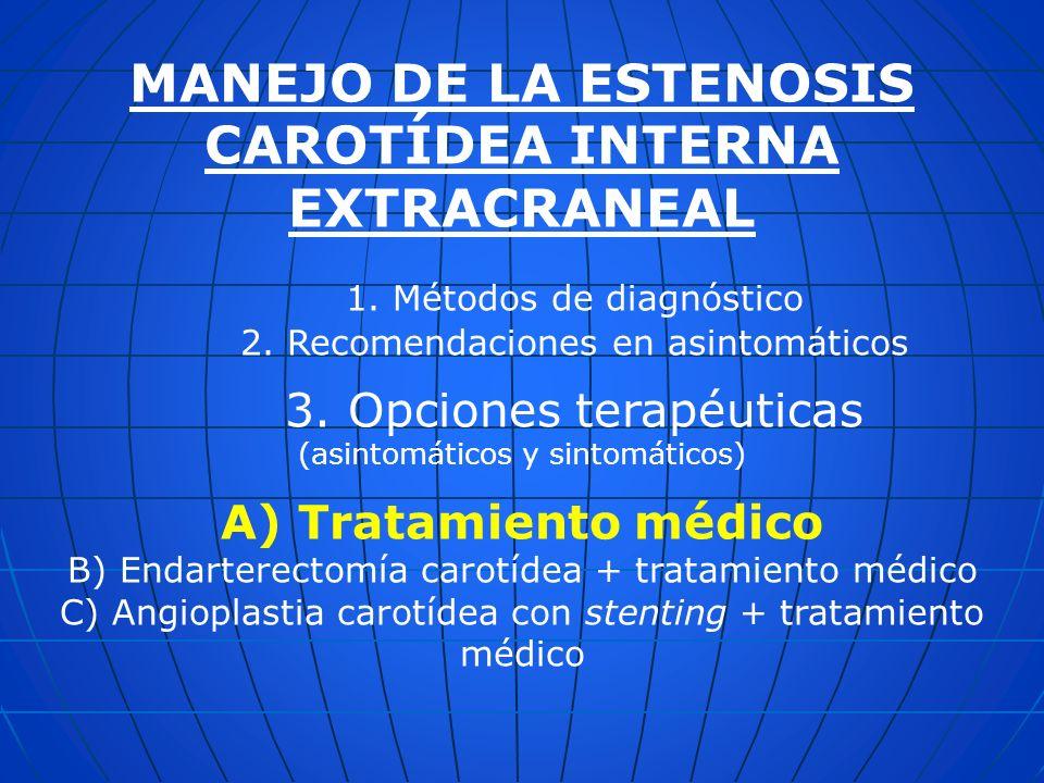 MANEJO DE LA ESTENOSIS CAROTÍDEA INTERNA EXTRACRANEAL 1. Métodos de diagnóstico 2. Recomendaciones en asintomáticos 3. Opciones terapéuticas (asintomá