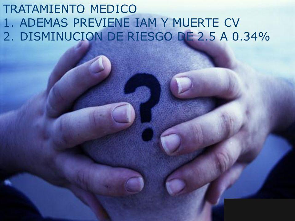 1.ADEMAS PREVIENE IAM Y MUERTE CV 2.DISMINUCION DE RIESGO DE 2.5 A 0.34%