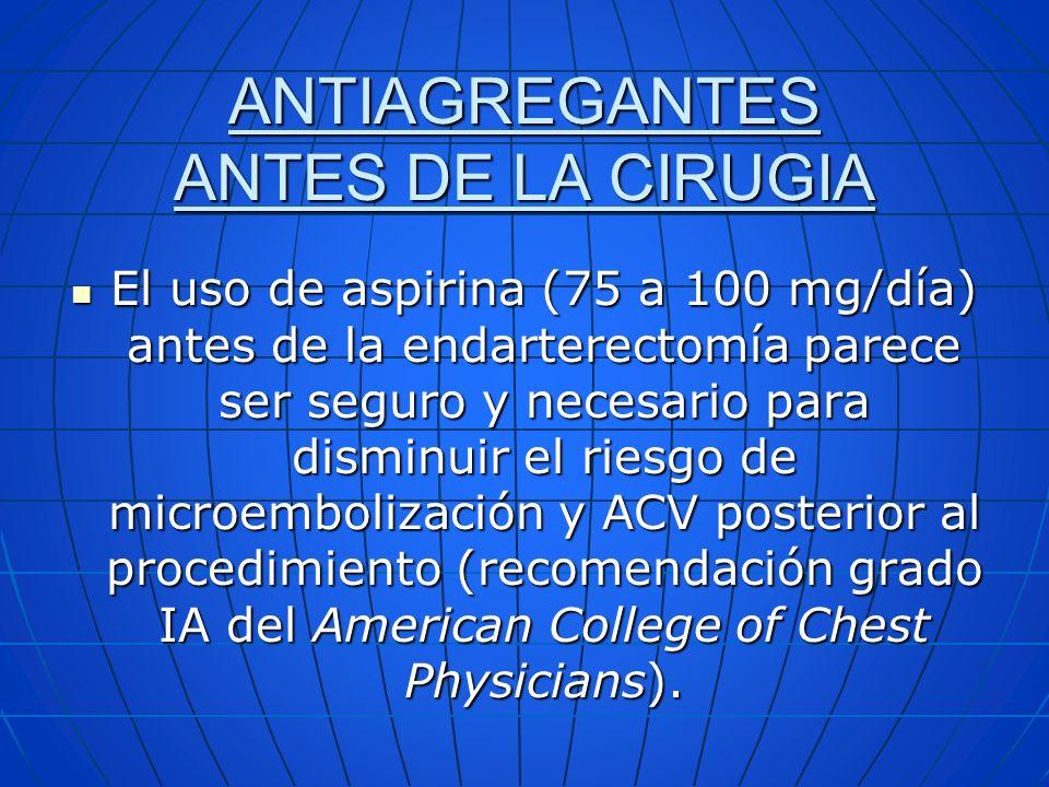 ANTIAGREGANTES ANTES DE LA CIRUGIA El uso de aspirina (75 a 100 mg/día) antes de la endarterectomía parece ser seguro y necesario para disminuir el ri