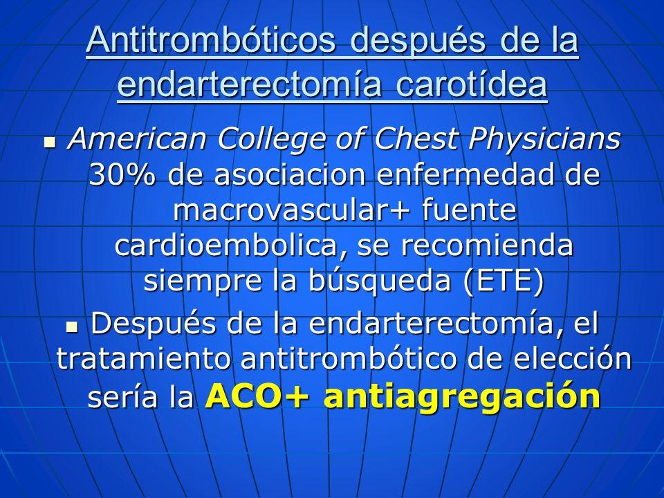 American College of Chest Physicians 30% de asociacion enfermedad de macrovascular+ fuente cardioembolica, se recomienda siempre la búsqueda (ETE) Ame