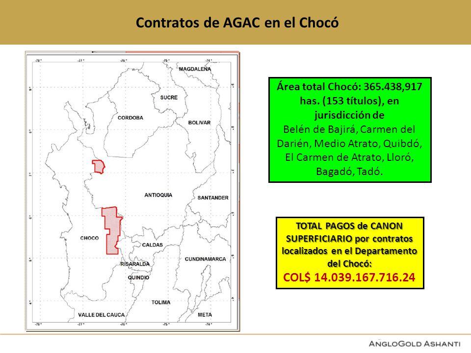 Contratos de AGAC en el Chocó Área total Chocó: 365.438,917 has.