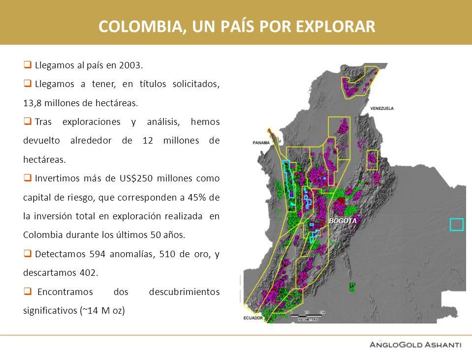 COLOMBIA, UN PAÍS POR EXPLORAR Hoy tenemos programas de exploración en 6 departamentos.