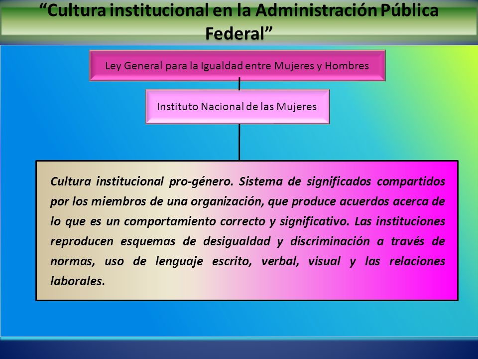 Cultura institucional en la Administración Pública Federal Ley General para la Igualdad entre Mujeres y Hombres Instituto Nacional de las Mujeres Cult