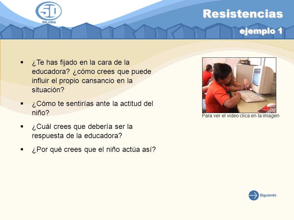 Resistencias ejemplo 1 ¿Te has fijado en la cara de la educadora? ¿cómo crees que puede influir el propio cansancio en la situación? ¿Cómo te sentiría
