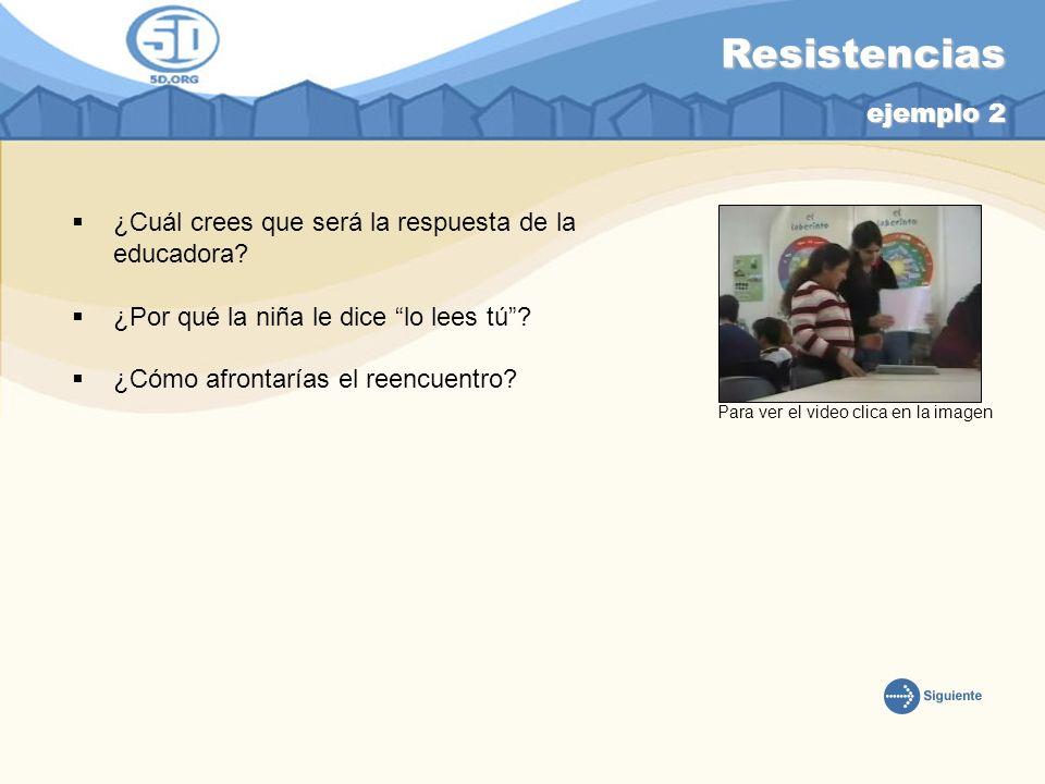 Resistencias ejemplo 2 ¿Cuál crees que será la respuesta de la educadora? ¿Por qué la niña le dice lo lees tú? ¿Cómo afrontarías el reencuentro? Para