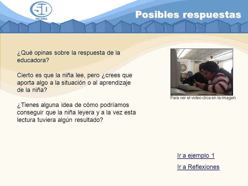 Posibles respuestas ¿Qué opinas sobre la respuesta de la educadora? Cierto es que la niña lee, pero ¿crees que aporta algo a la situación o al aprendi