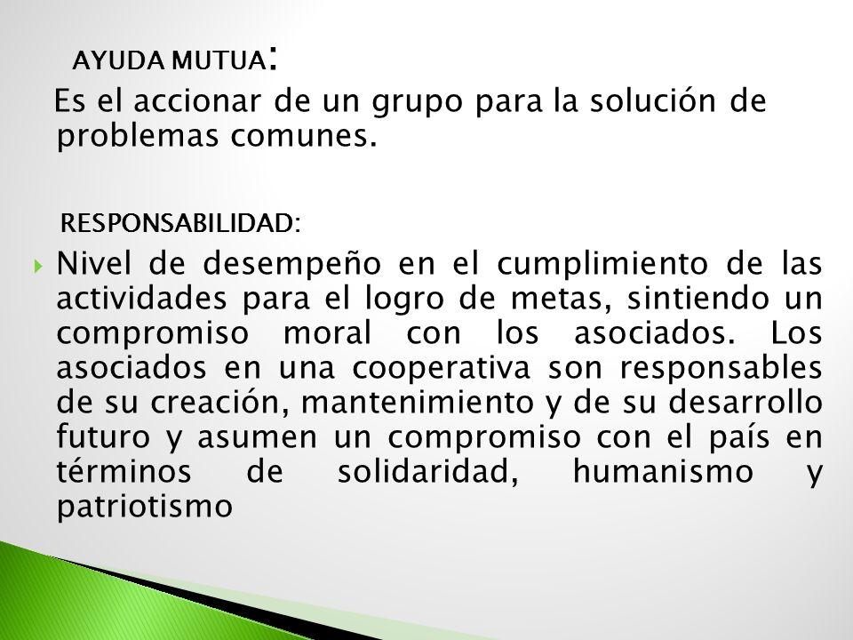 AYUDA MUTUA : Es el accionar de un grupo para la solución de problemas comunes. RESPONSABILIDAD: Nivel de desempeño en el cumplimiento de las activida