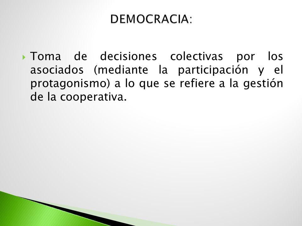 Toma de decisiones colectivas por los asociados (mediante la participación y el protagonismo) a lo que se refiere a la gestión de la cooperativa.