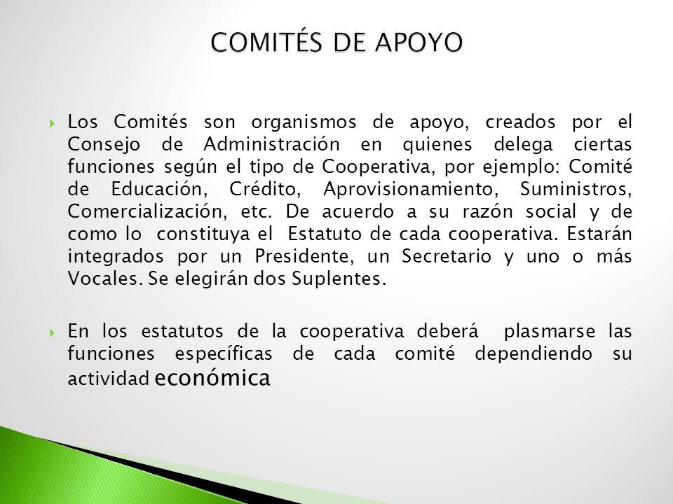 Los Comités son organismos de apoyo, creados por el Consejo de Administración en quienes delega ciertas funciones según el tipo de Cooperativa, por ej