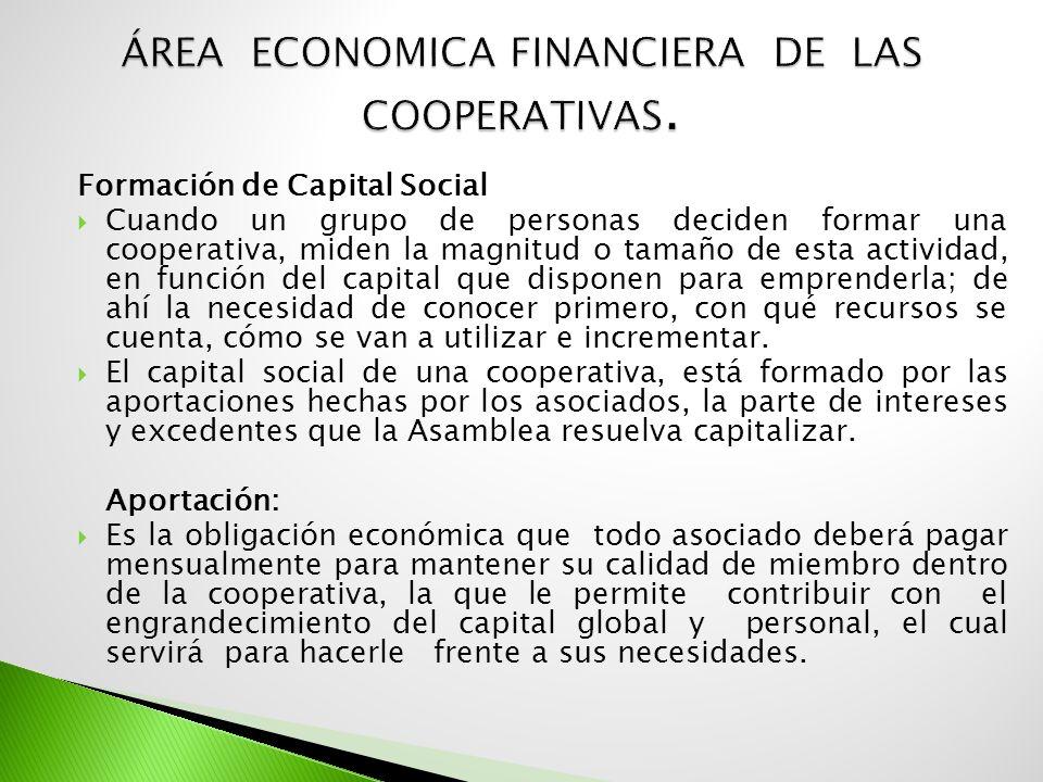 Formación de Capital Social Cuando un grupo de personas deciden formar una cooperativa, miden la magnitud o tamaño de esta actividad, en función del c