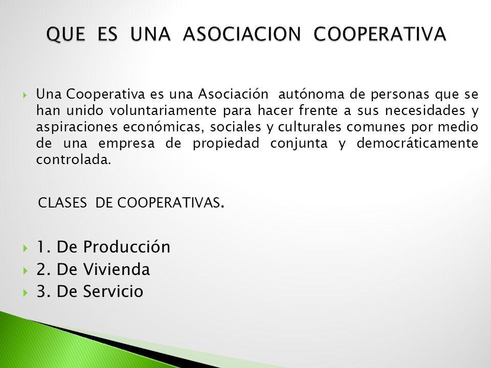 Una Cooperativa es una Asociación autónoma de personas que se han unido voluntariamente para hacer frente a sus necesidades y aspiraciones económicas,