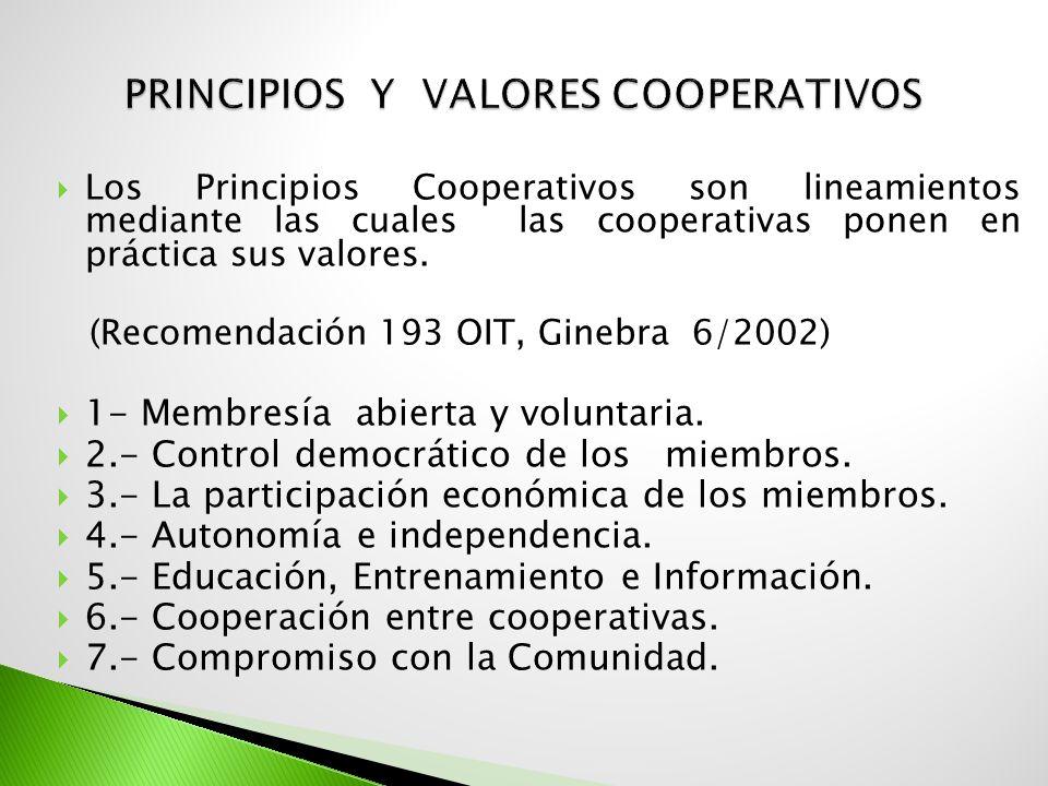 Los Principios Cooperativos son lineamientos mediante las cuales las cooperativas ponen en práctica sus valores. (Recomendación 193 OIT, Ginebra 6/200