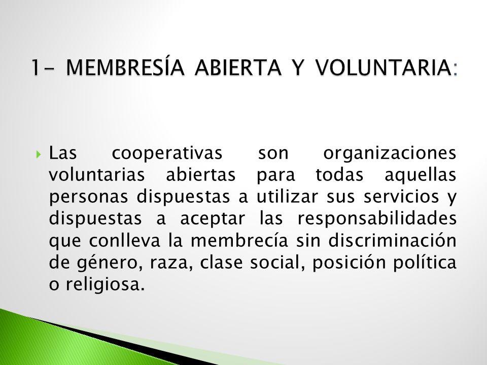 Las Cooperativas son organizaciones democráticas controladas por sus miembros quienes participan activamente en la definición de las políticas y en la toma de decisiones.