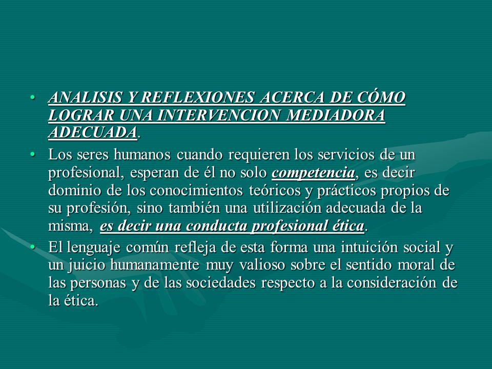 ANALISIS Y REFLEXIONES ACERCA DE CÓMO LOGRAR UNA INTERVENCION MEDIADORA ADECUADA.ANALISIS Y REFLEXIONES ACERCA DE CÓMO LOGRAR UNA INTERVENCION MEDIADORA ADECUADA.