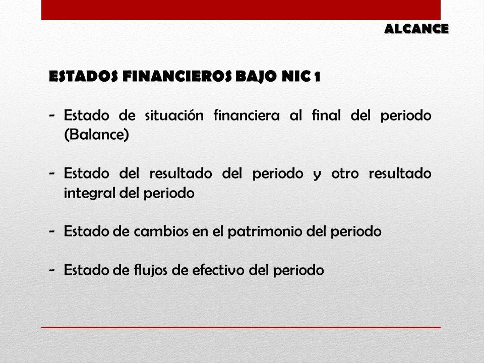 ESTADOS FINANCIEROS BAJO NIC 1 -Estado de situación financiera al final del periodo (Balance) -Estado del resultado del periodo y otro resultado integ