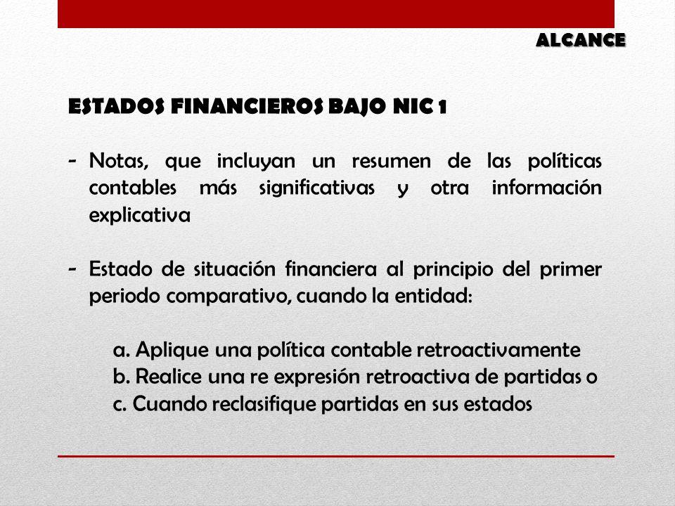 ESTADOS FINANCIEROS BAJO NIC 1 -Notas, que incluyan un resumen de las políticas contables más significativas y otra información explicativa -Estado de situación financiera al principio del primer periodo comparativo, cuando la entidad: a.