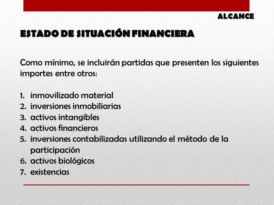 Como mínimo, se incluirán partidas que presenten los siguientes importes entre otros: 1.inmovilizado material 2.inversiones inmobiliarias 3.activos in