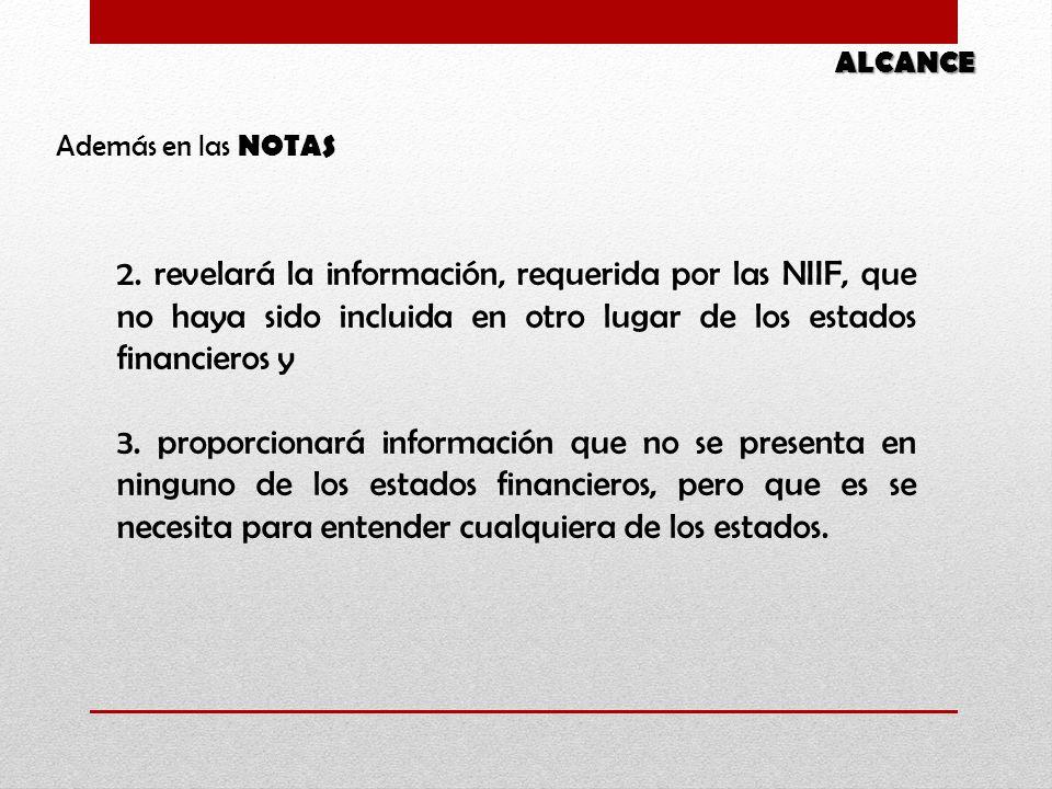 2. revelará la información, requerida por las NIIF, que no haya sido incluida en otro lugar de los estados financieros y 3. proporcionará información