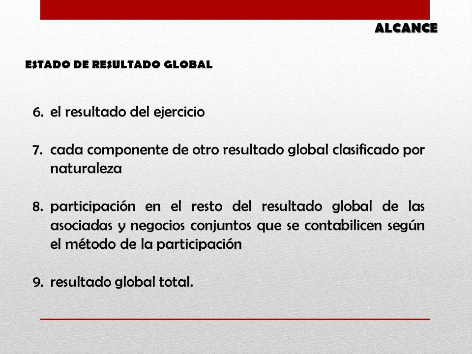 6.el resultado del ejercicio 7.cada componente de otro resultado global clasificado por naturaleza 8.participación en el resto del resultado global de las asociadas y negocios conjuntos que se contabilicen según el método de la participación 9.resultado global total.